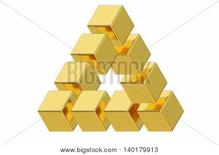 Impossible golden triangle optical illusion 3D rendering isolated on white background