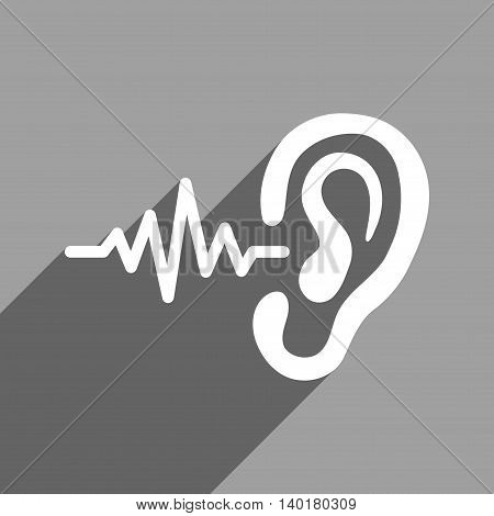 Listen Signal long shadow vector icon. Style is a flat listen signal white iconic symbol on a gray square background.