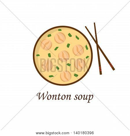 Vector illustration with cartoon traditional chinese wonton soup. Chinese culture design. Vector china ciusine food background. Cartoon isolated wonton soup with chopsticks. Asian oriental food design