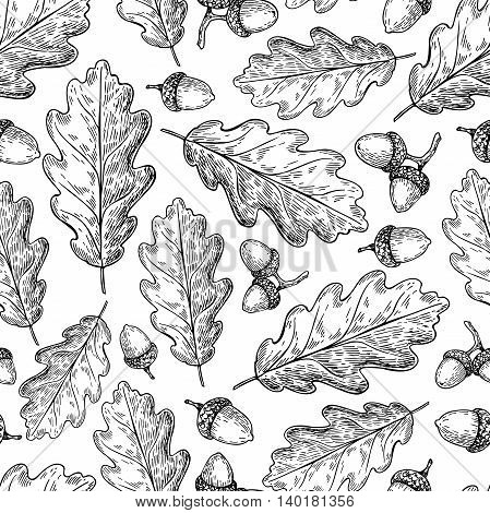 Seamless vector pattern with autumn leaves. Oak leaf and acorn drawing. Hand drawn detailed botanical background. Vintage fall seasonal decor.