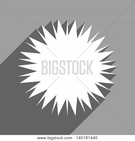 Microbe Spore long shadow vector icon. Style is a flat microbe spore white iconic symbol on a gray square background.