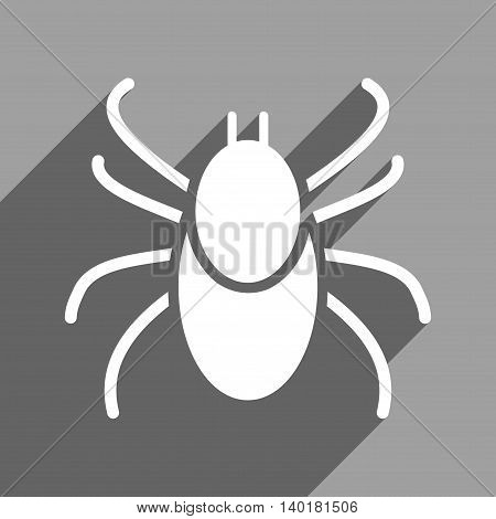 Mite long shadow vector icon. Style is a flat mite white iconic symbol on a gray square background.