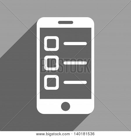 Mobile List long shadow vector icon. Style is a flat mobile list white iconic symbol on a gray square background.