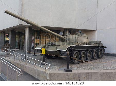 Kiev Ukraine - September 18 2015: Soviet tank T-62 - an exhibit of the museum of military equipment