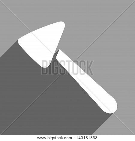 Neurologist Hammer long shadow vector icon. Style is a flat neurologist hammer white iconic symbol on a gray square background.