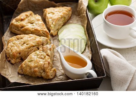 Yogurt apple scones with cider glaze for breakfast
