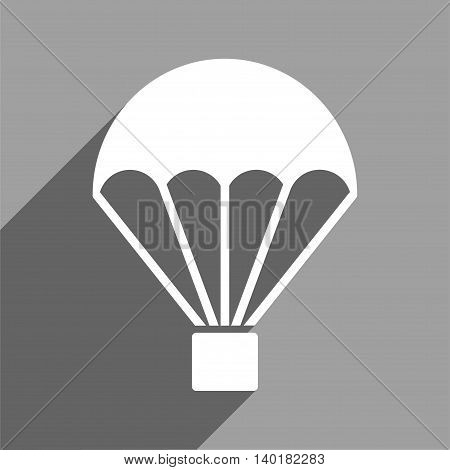 Parachute long shadow vector icon. Style is a flat parachute white iconic symbol on a gray square background.