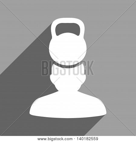 Patient Stress long shadow vector icon. Style is a flat patient stress white iconic symbol on a gray square background.