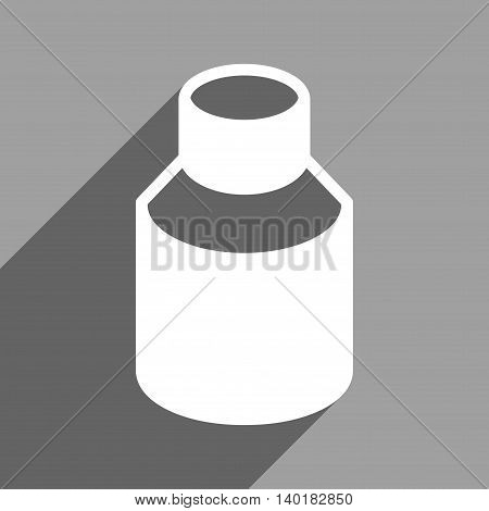 Phial long shadow vector icon. Style is a flat phial white iconic symbol on a gray square background.