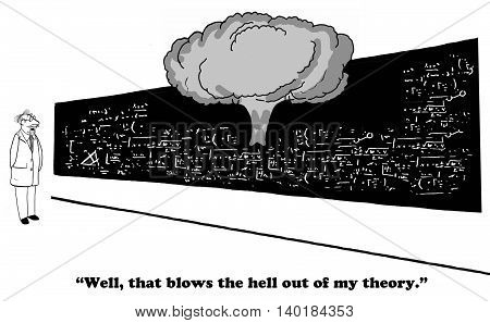Business and education cartoon about a failed theory.