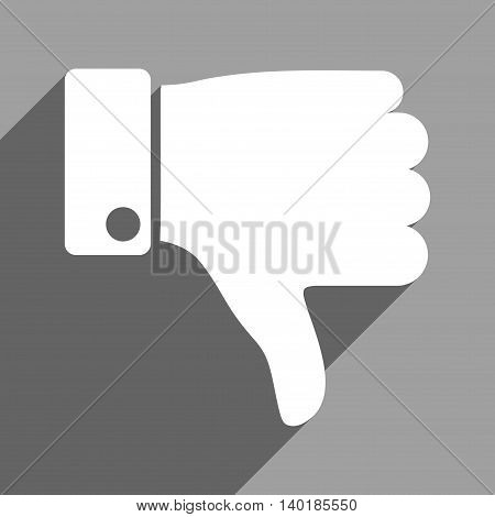 Thumb Down long shadow vector icon. Style is a flat thumb down white iconic symbol on a gray square background.