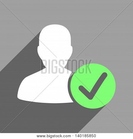 Valid User long shadow vector icon. Style is a flat valid user white iconic symbol on a gray square background.