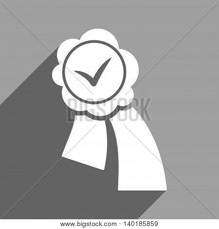 Validation Seal long shadow vector icon. Style is a flat validation seal white iconic symbol on a gray square background.