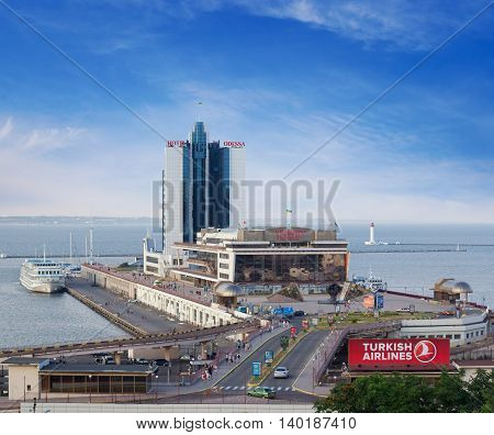 ODESSA UKRAINE - JUNE 26 2016: The Port of Odessa or Odessa Marine Trade Port is the largest Ukrainian seaport and one of the largest ports in the Black Sea basin with a total annual traffic capacity of 40 million tonnes