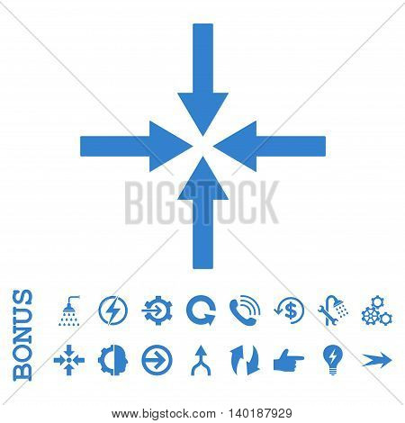 Impact Arrows vector icon. Image style is a flat iconic symbol, cobalt color, white background.