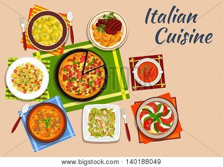National italian cuisine with margarita pizza surrounded by tomato and mozzarella salad and potato gnocchi, pasta soup and caesar salad, grilled steak, vermouth soup and pasta salad