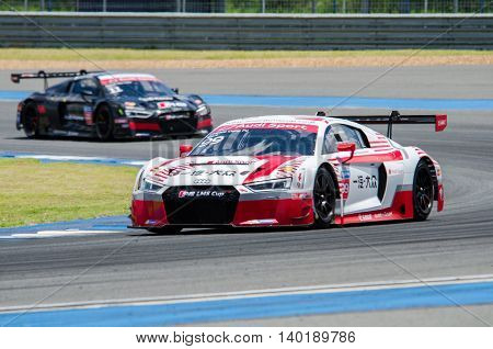 BURIRAM - THAILAND 24 : Audi R8 LMS Cup on display Buriram Super Race 2016 at Chang International Racing Circuit on July 24 2016 Buriram Thailand.