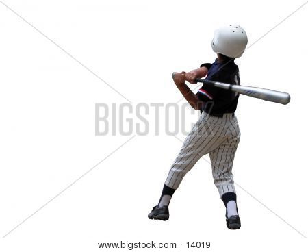 Baseball Player Over The White Baclground