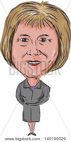 July 27, 2016: Caricature illustration of Theresa Mary May Prime Minister of the United Kingdom and Leader of the Conservative Party facing front done in cartoon style.