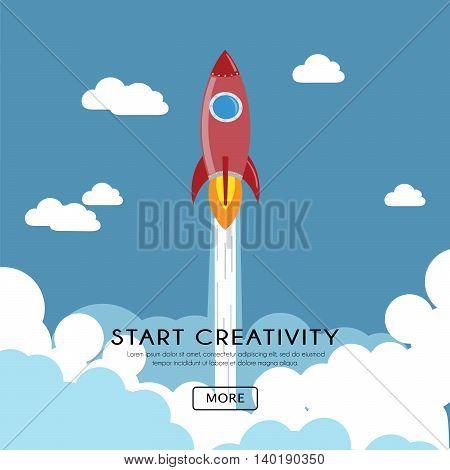 Flat design of Creativity Rocket launch. Start Up Concept