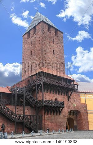 City walls with gate in Namyslow, Poland