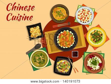 Chinese cuisine flat sign of spicy cabbage salad with fish sauce, shrimp noodles, batter pork, noodle tofu salad topped with prawns, vegetable stew, napa cabbage salad, cinnamon dumpling, cabbage soup