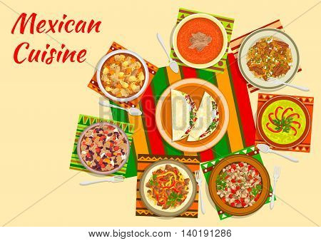 Mexican taco salad icon served in the center of a table with tomato soup, beef fajitas, bean stew chilli con carne, chilled avocado soup, chicken stew with tomato sauce, meat and pepper salad, beef tongue with vegetables. Flat style