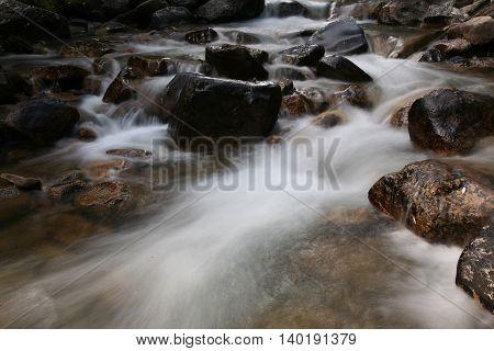 Cascading waters over a Colorado mountain stream