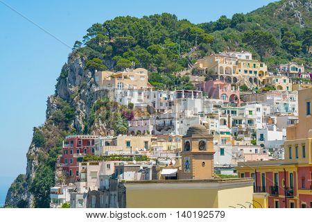 The village of Capri on the island of Capri off the Amalfi Coast Italy