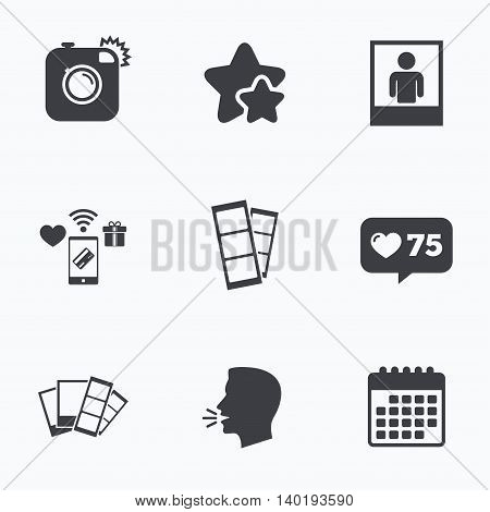 Hipster photo camera icon. Flash light symbol. Photo booth strips sign. Human portrait photo frame. Flat talking head, calendar icons. Stars, like counter icons. Vector