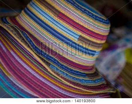 Colorful hats for sale in one of the tourist shops Canary Islands, Spain