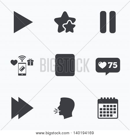 Player navigation icons. Play, stop and pause signs. Next song symbol. Flat talking head, calendar icons. Stars, like counter icons. Vector