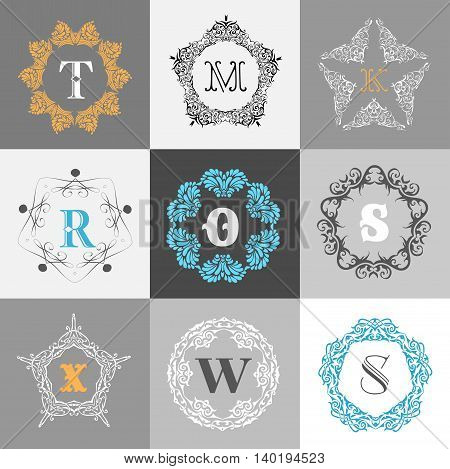 Monogram logo template with calligraphic elegant ornament. Identity design with M, O, R, S, X, W letter for shop, store or restaurant, heraldic, barbershop