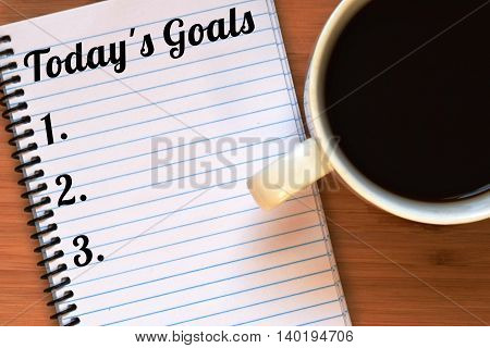 today's goals written on a notebook with a numbered list
