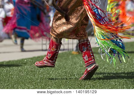 Close up of traditional footwear during the Julyamsh Powwow in Coeur d'Alene Idaho.