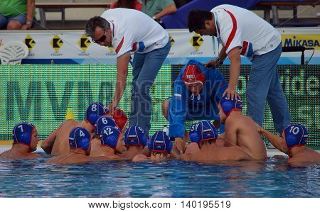 Budapest Hungary - Jul 14 2014. The russian team in the break. The Waterpolo European Championship was held in Alfred Hajos Swimming Centre in 2014.