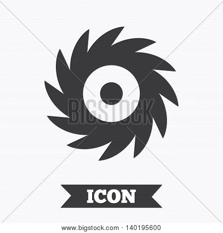 Saw circular wheel sign icon. Cutting blade symbol. Graphic design element. Flat saw symbol on white background. Vector