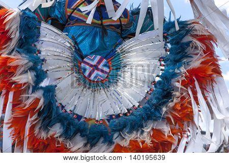 Bright colorful headdress shown at the Julyamsh Powwow in Coeur d'Alene Idaho.