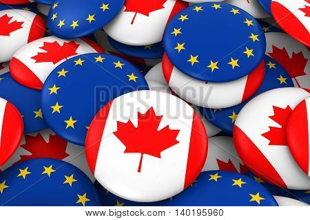Canada And Europe Badges Background - Pile Of Canadian And European Flag Buttons 3D Illustration