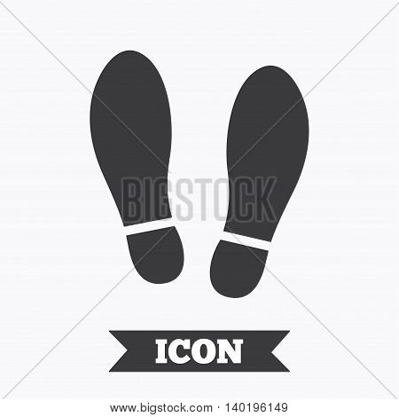 Imprint soles shoes sign icon. Shoe print symbol. Graphic design element. Flat shoes symbol on white background. Vector poster