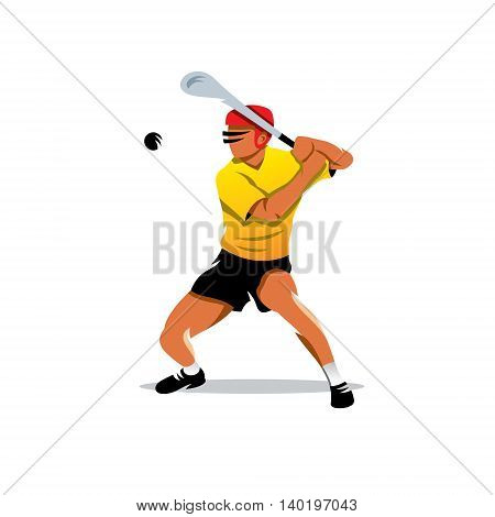 Man in the helmet hits the ball with a club. Isolated on a White Background