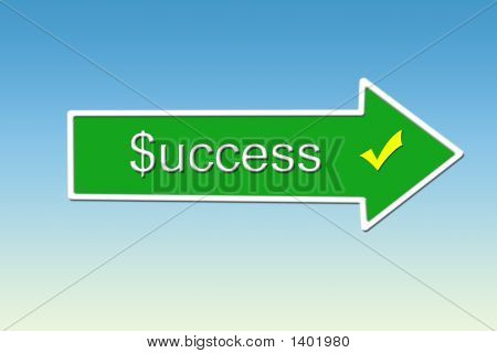 Illustration of a direction sign to success on a sky background poster
