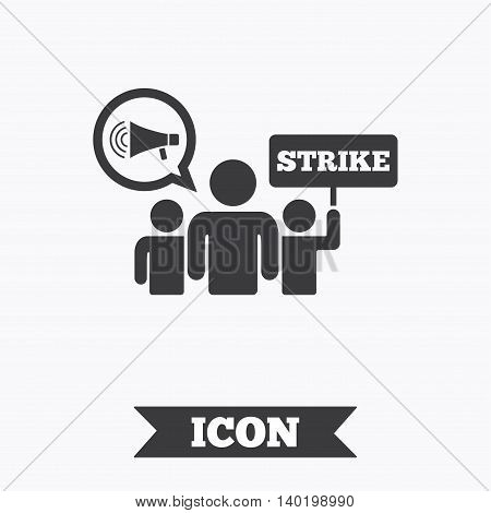 Strike sign icon. Group of people symbol. Industrial action. Holding protest banner and megaphone. Graphic design element. Flat strike symbol on white background. Vector