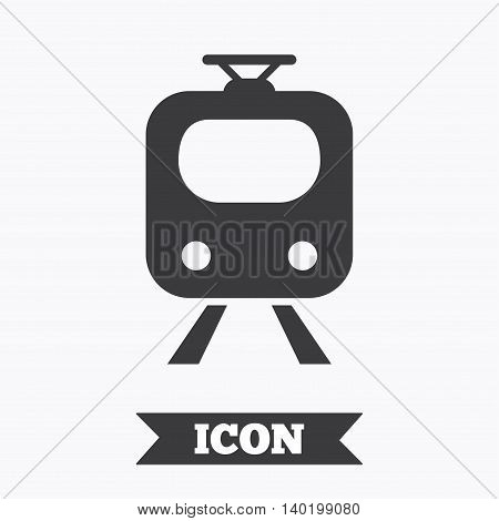 Subway sign icon. Train, underground symbol. Graphic design element. Flat subway symbol on white background. Vector