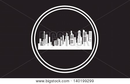 Stock city icon silhouettes vector art illustration