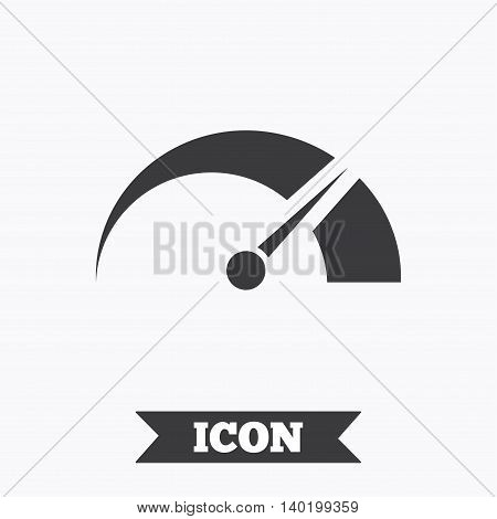 Tachometer sign icon. Revolution-counter symbol. Car speedometer performance. Graphic design element. Flat tachometer symbol on white background. Vector
