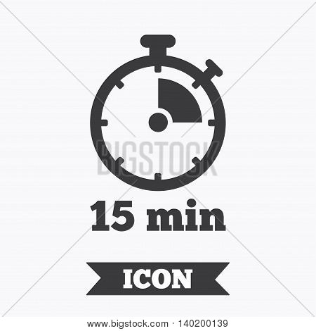 Timer sign icon. 15 minutes stopwatch symbol. Graphic design element. Flat timer symbol on white background. Vector