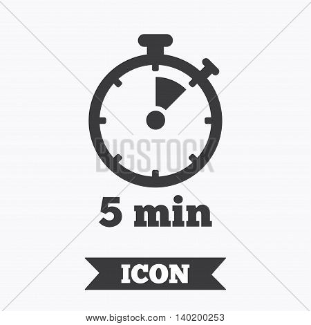 Timer sign icon. 5 minutes stopwatch symbol. Graphic design element. Flat timer symbol on white background. Vector