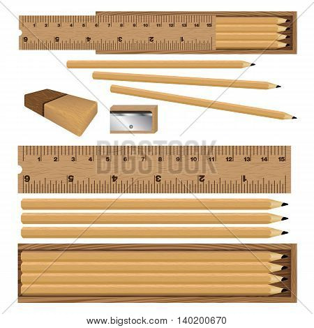 Wooden box for ruler and pencil, eraser with sharpener on white background. Drawing Box set.