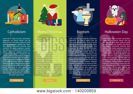 Religion and Celebrations Vertical Banner Concept | Set of great vertical banner flat design illustration concepts for religion, celebration, culture, confidence, and much more. the set can be used for several purposes like: websites, print templates, pre